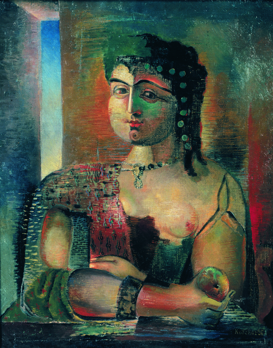 The girl with an apple